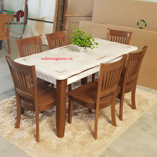 bàn ăn gỗ mặt đá