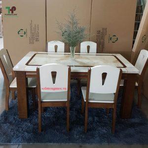 bàn ghế ăn gỗ mặt đá