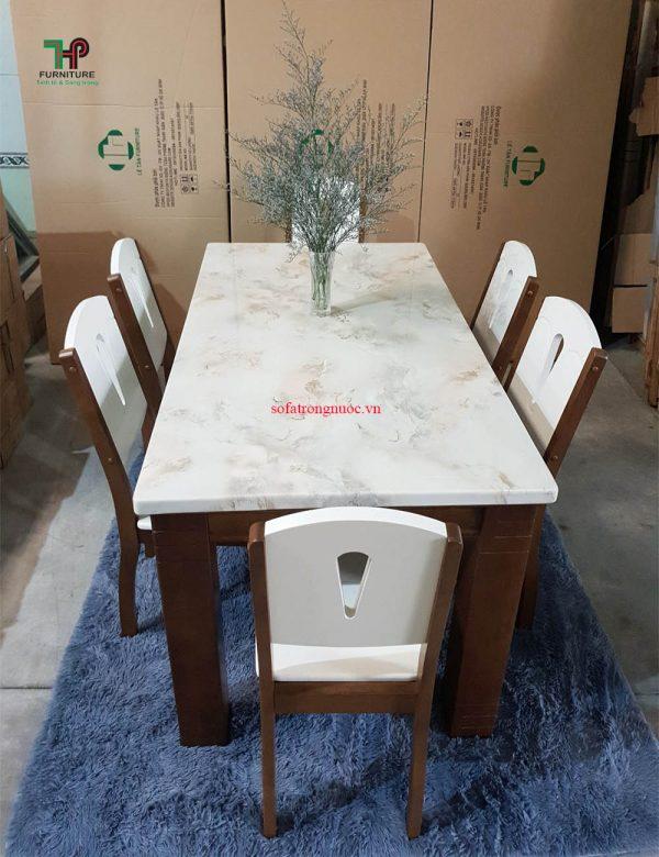 bộ bàn ghế ăn mặt đá hiện đại