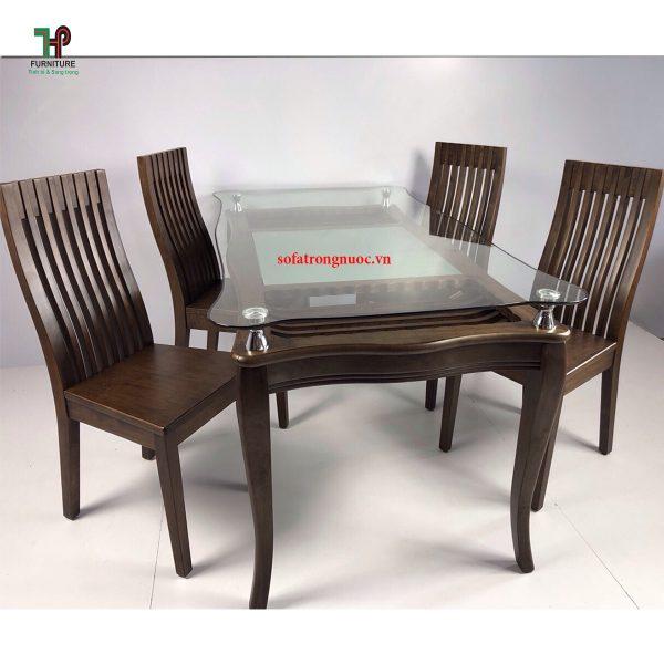 bàn ăn gỗ mặt kính