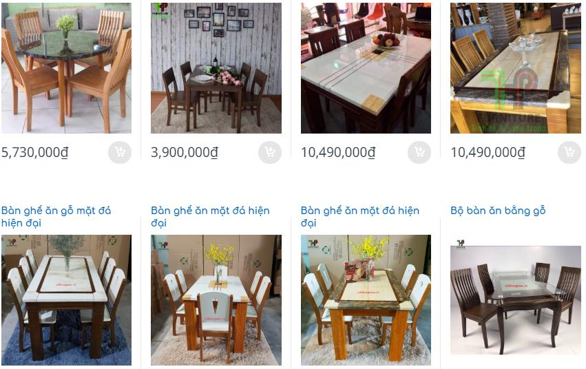 Bàn ăn 6 ghế mặt đá giá rẻ