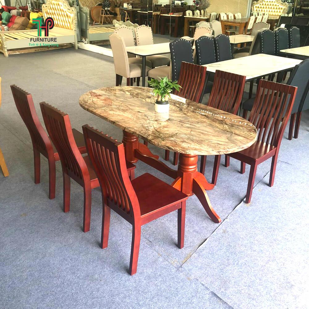 bàn ăn gỗ mặt đá oval
