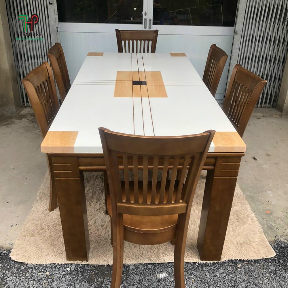 bàn ăn 6 ghế mặt đá đẹp