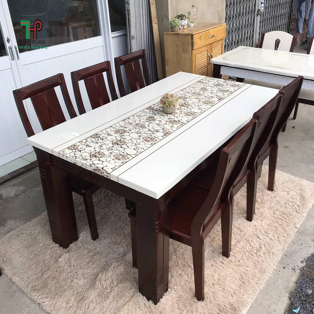 bàn ăn gỗ mặt đá (2)