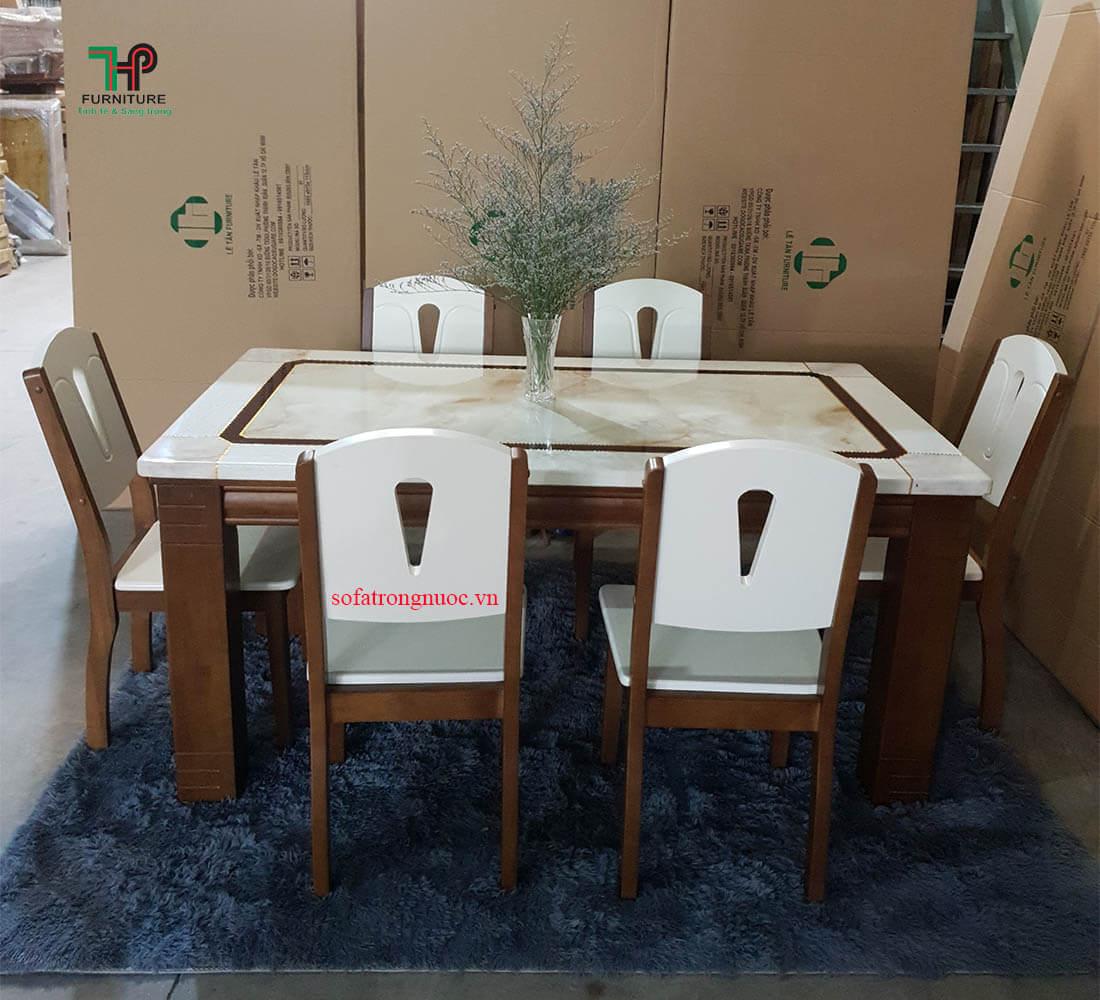 bàn ghế ăn gỗ mặt đá (1)