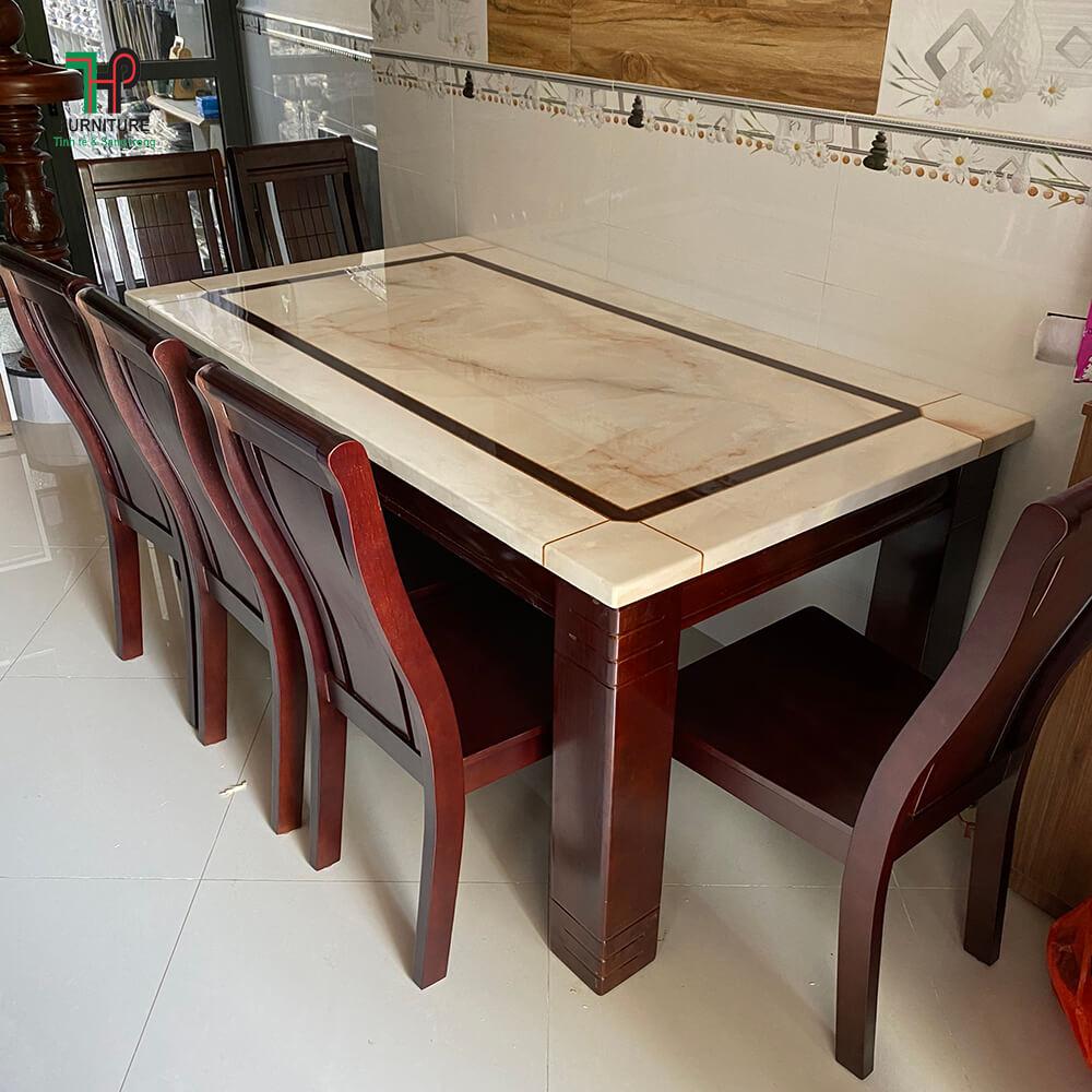 bộ bàn ăn chân gỗ mặt đá đẹp (1)